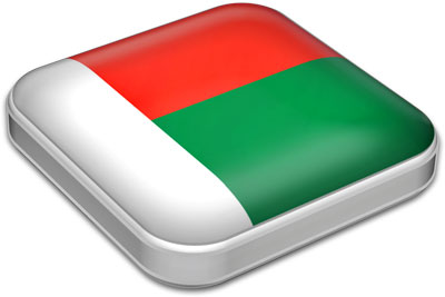 Flag of Madagascar with metallic square frame