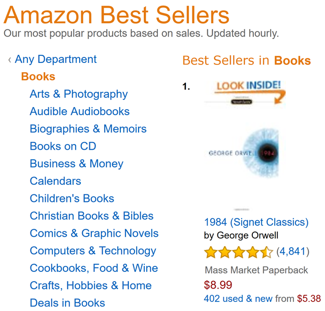 Screenshot of the Amazon.com home page, showing George Orwell's novel, 1984, as the Number One best selling book, on 27 January 2017. Graphic: Amazon