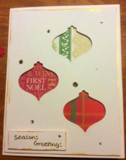 Stupendous Sparkler dots, PaperMania First Noel, Spellbinders Heirloom Ornaments die, Inkagold