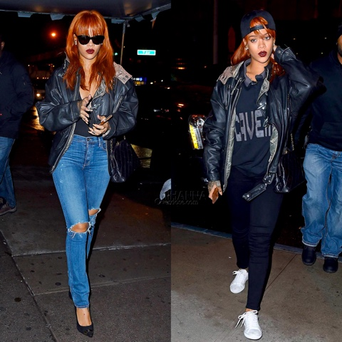 Rihanna goes out by night in Givenchy and Cav Empt