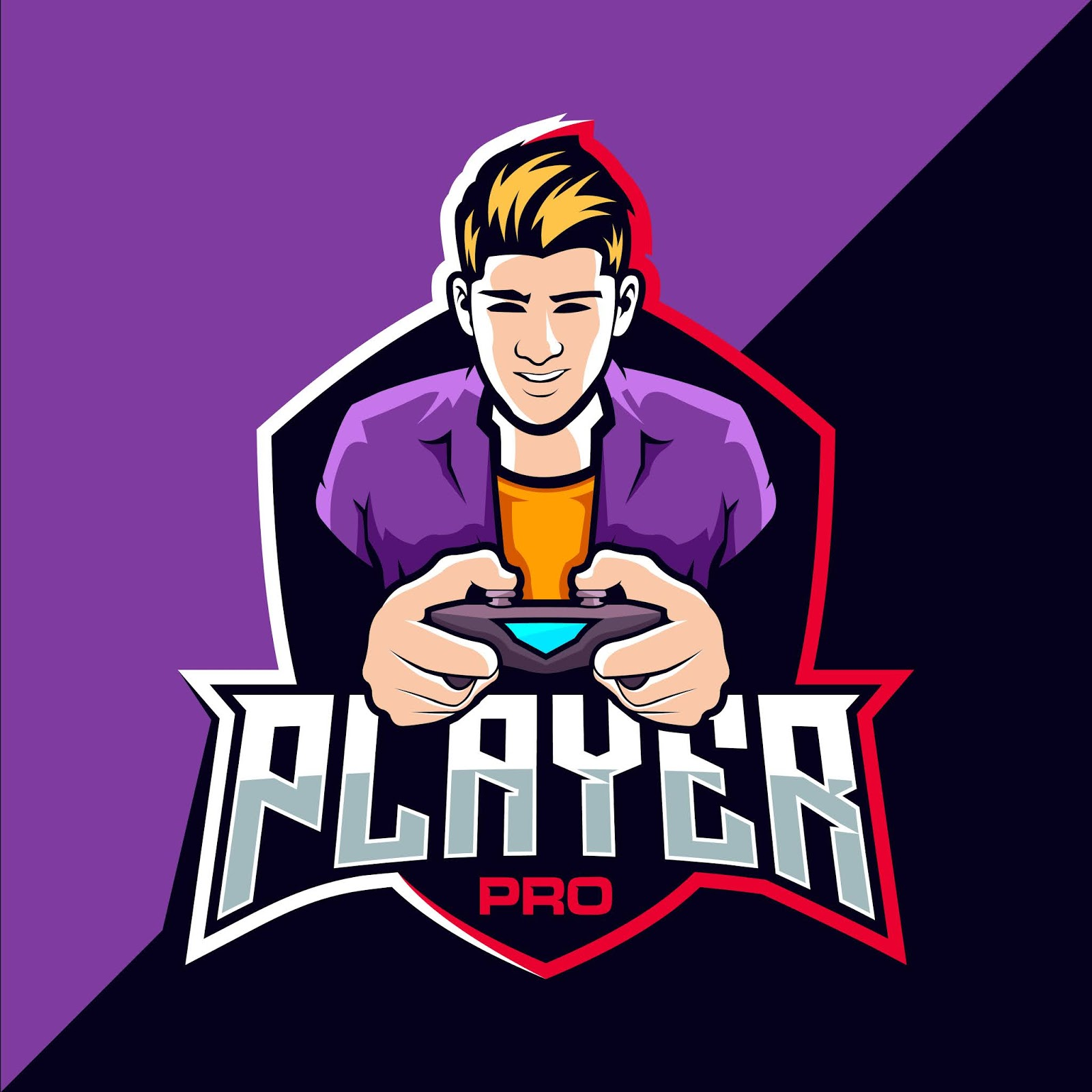 Pro Player Esport Game Logo Funny Free Download Vector CDR, AI, EPS and PNG Formats