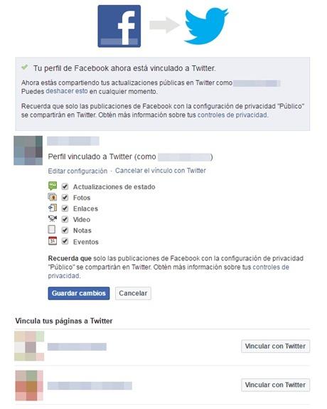 Tu perfil de Facebook ahora está vinculado a Twitter