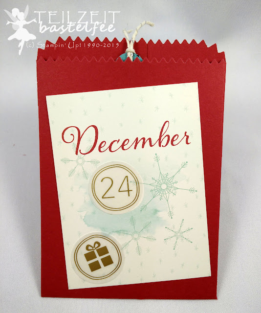 Stampin' Up! - December Inkspirations, Adventskalender, Advent Calendar, Box, Project Life Hello December 2015, Thinlits Mini-Leckereientüte, Mini Treat Bag Thinlits, quotes, Zitate, Scalloped Tag Topper, Gewellter Anhänger