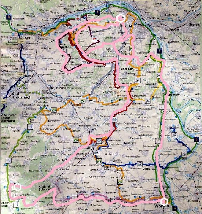 Routen-Karte Rheinhessen-Radrouten mit Donnersberg