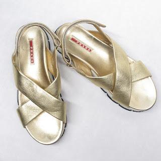 Prada Sport Gold Sandals