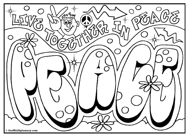Peace Graffiti Free Printable Coloring Page