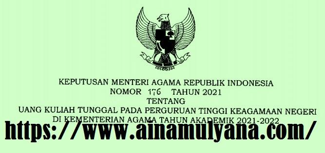 KMA Nomor 176 Tahun 2021 Tentang  Uang Kuliah Tunggal (UKT) Pada Perguruan Tinggi Keagamaan Negeri di Kementerian Agama Tahun Akademik 2021-2022