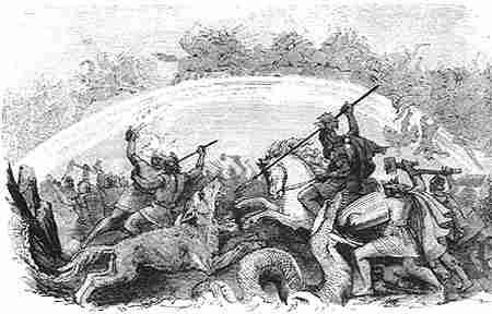 Odin Fighting Fenrir At Ragnarok, Asatru Gods And Heroes