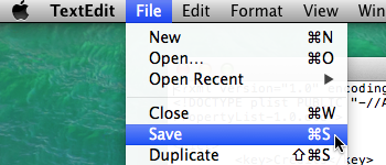 save file mac os x