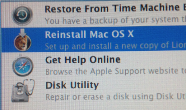 Reinstall Mac OS X from Internet recovery