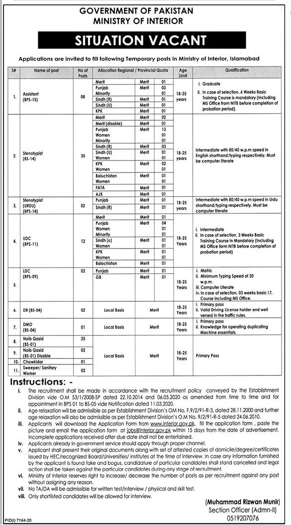 Ministry of Interior Jobs 2021 (87+ Posts)