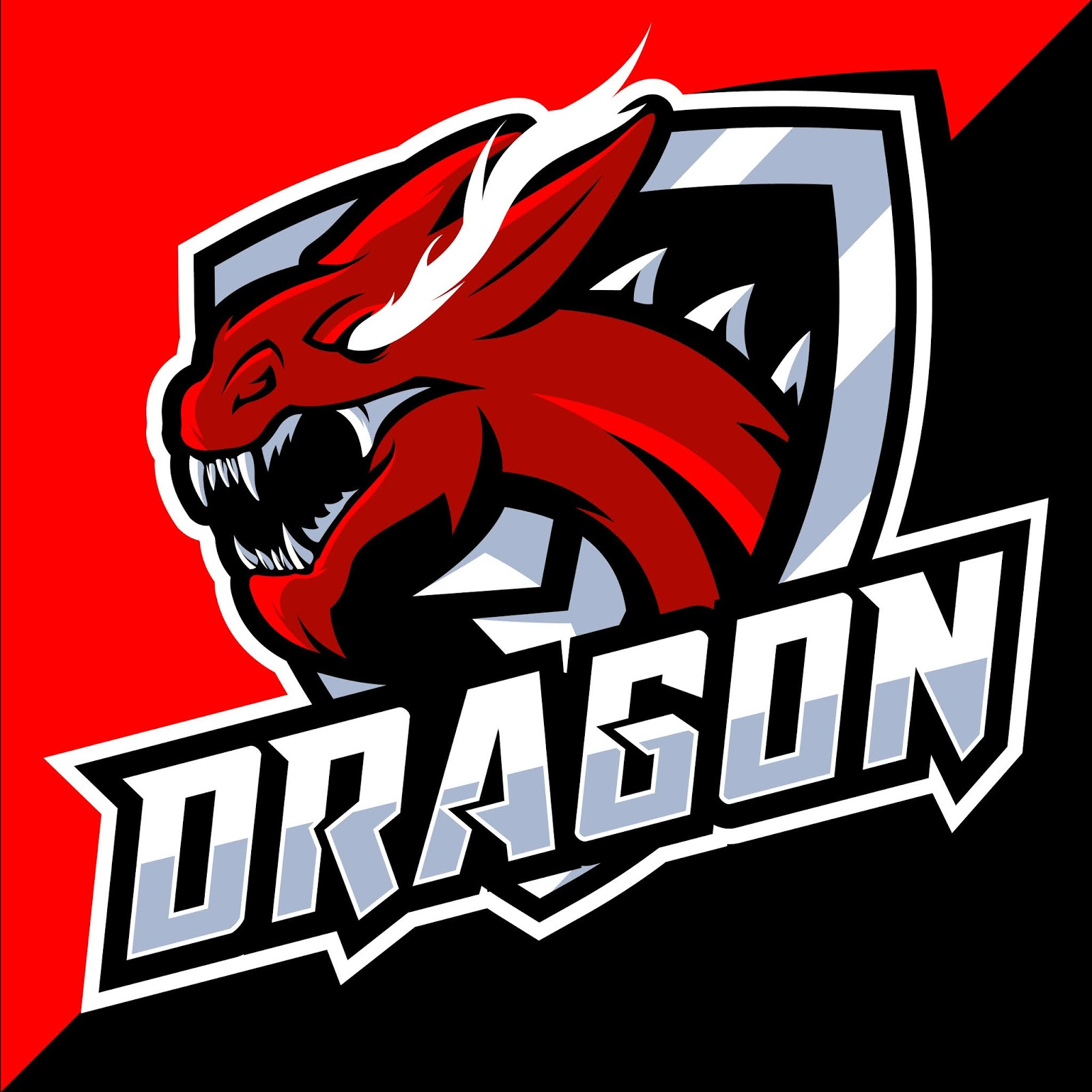 Red Dragon Head Esport Logo Free Download Vector CDR, AI, EPS and PNG Formats