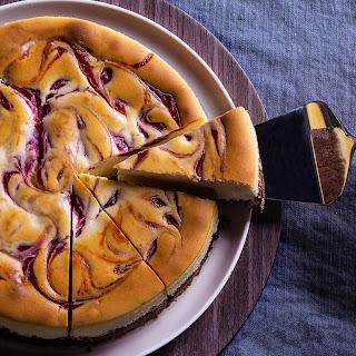 New York-Style Cheesecake with a Raspberry Swirl