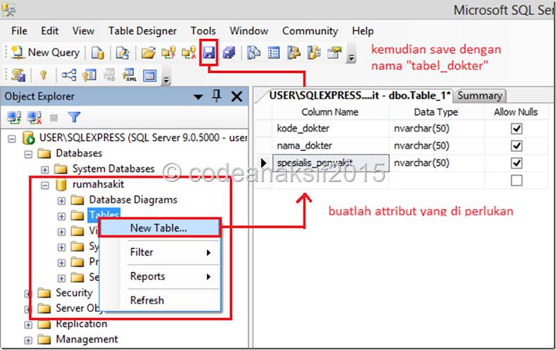 """Membuat Database Rumahsakit Sederhana Dengan SQL SEE 2005 """"GUI"""""""