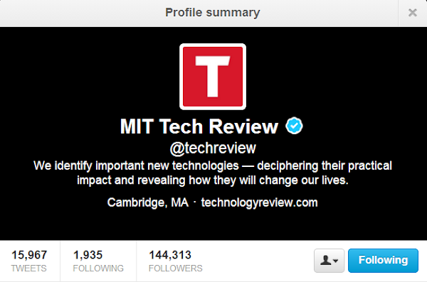 MIT Tech Review - @techreview