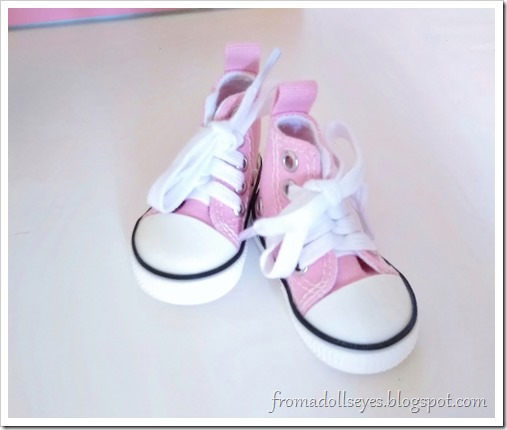 Pink sneakers for a msd sized ball jointed doll, out of the packaging and ready to try on.
