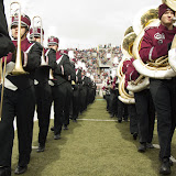 The University of Montana marching band heads toward the South endzone to form the two lines that welcome the Grizzlies onto the field.Washington-Grizzly Stadium in Missoula, Mont., October 27th, 2012.