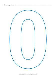 Lámina para colorear y pintar el número cero en color cian