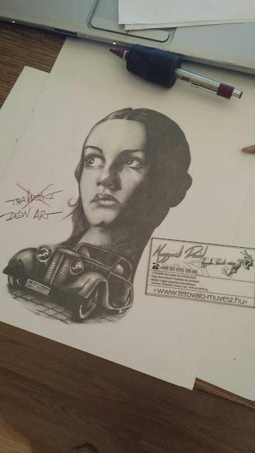 Fotó realista grafit rajz Nagyváti Dávid Déw art Szegedi tetováló művésztől, autóval és egy női portréval, sejtelmes hangulatot kölcsönöz a rajz! cimkék: ,autó, kocsi, Nagyváti Dávid, portré, Szeged tetoválás, tattoo szeged, tetoválás minta, tetováló művész