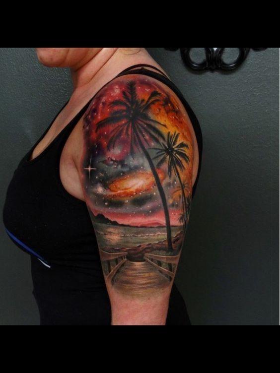 lindo_csmica_praia_paisagem_braço_de_tatuagem