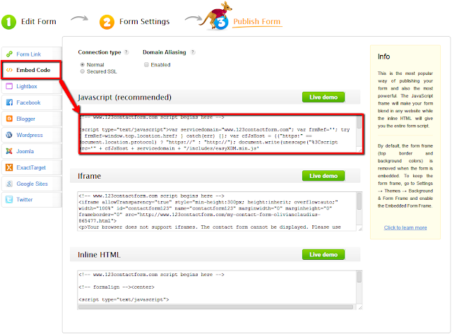 use javascript code to embed web forms