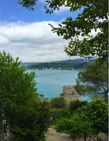 View to the Bosphorus bridge fro Rumeli Hisari Fortress Istanbul