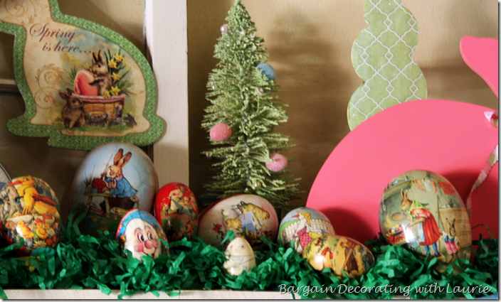 Mantel decorated with Easter eggs