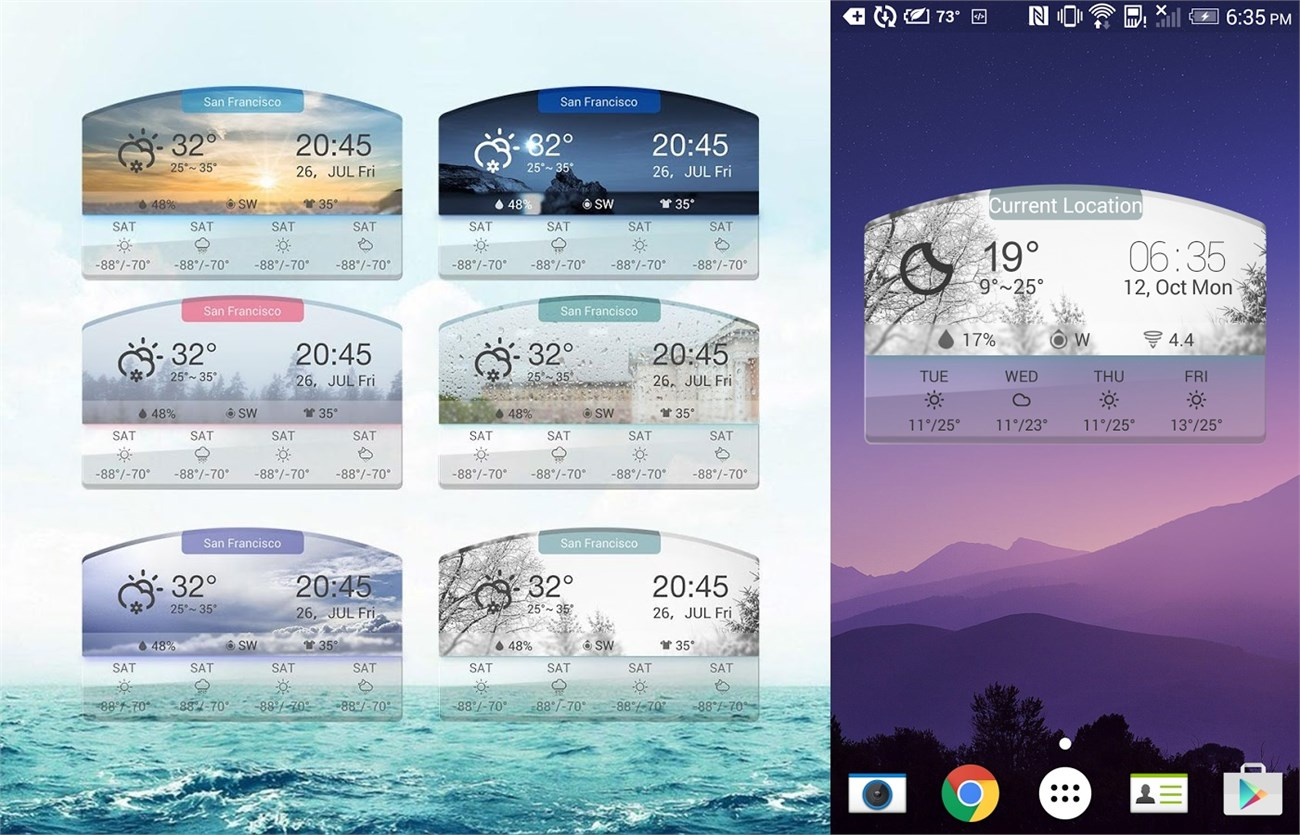 Arched weather forecast widget