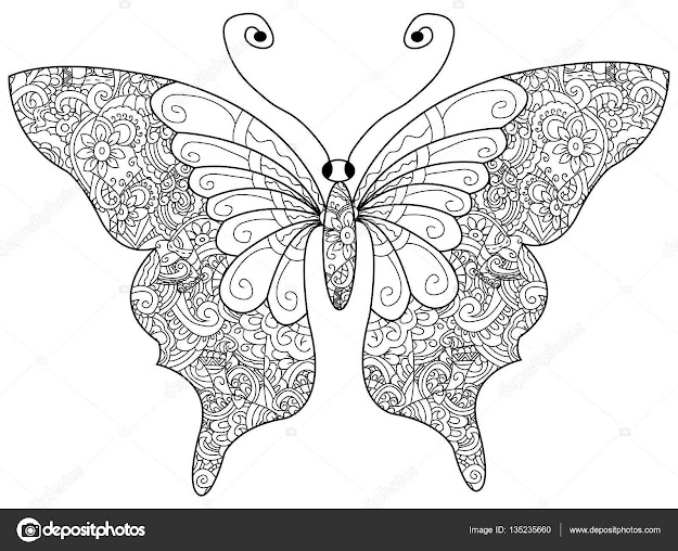 Butterfly Coloring Book For Adults Vector Illustration Antistress Coloring  For Adult Zentangle Style Black And White Lines