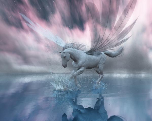 Bathing Winged Horse, Spirit Companion 4