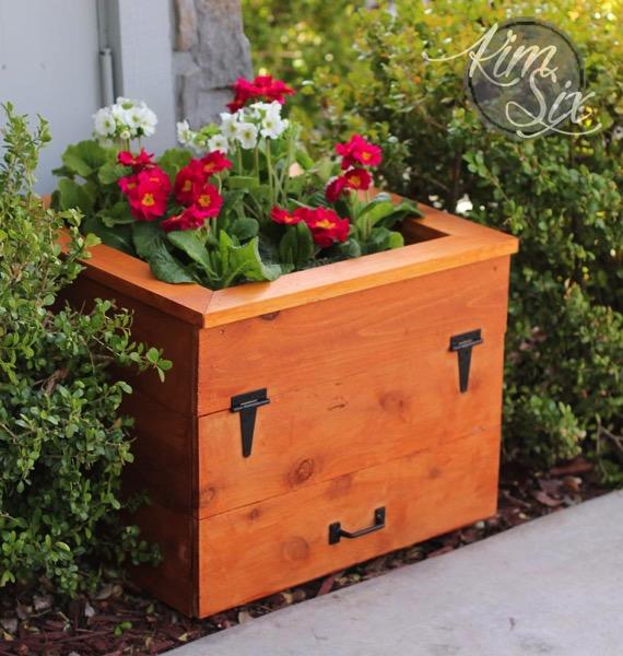 Cedar Flower Box With Hidden Garden Hose Storage