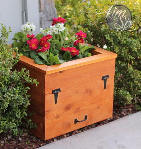 Cedar Flower Box With Hidden Garden Hose Storage