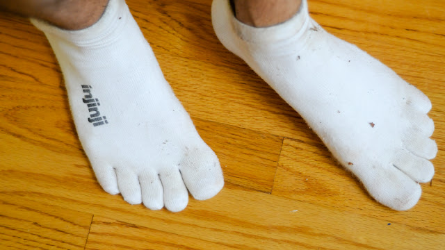 my feet demonstrating the fit of Injinji Performance Micro toe socks