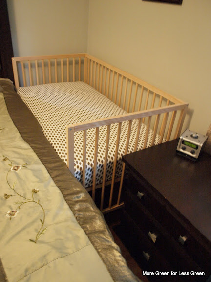 more green for less green crib part 3 turn a crib into a side car co sleeper. Black Bedroom Furniture Sets. Home Design Ideas