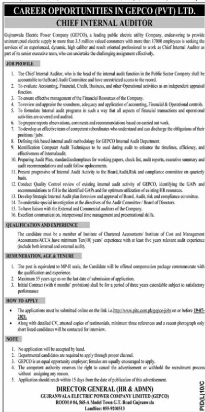Gujranwala Electric Power Company (GEPCO) Jobs 2021