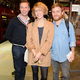 WWW.ENTSIMAGES.COM -    Graeme Dalling, Olivia  Morgan and Callum O'Neil    arriving at       East is East - press night at Trafalgar Studios London October 16th 2014                                                 Photo Mobis Photos/OIC 0203 174 1069