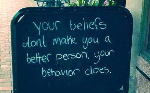 Sign about beliefs and behaviour