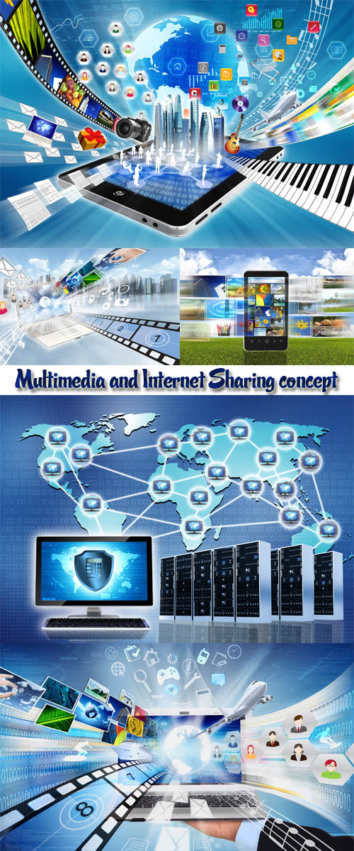 Stock Photo: Multimedia and Internet Sharing concept