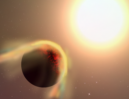 ilustração da atmosfera exterior de um exoplaneta sendo arrancada