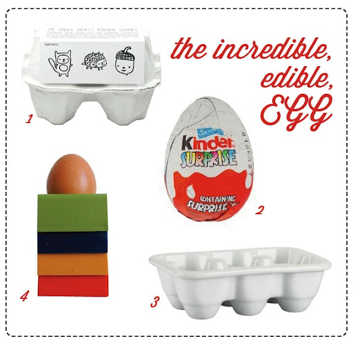 kinder eggs, rubber stamps, egg cup and crate and barrel egg collage