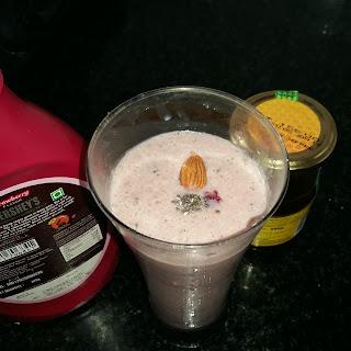 Pomegranate Milkshake With Chia Seeds.