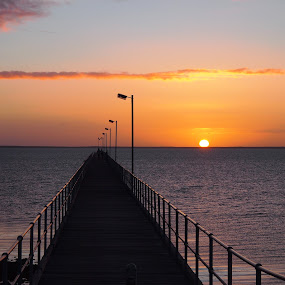 Sunset at Ceduna by Pamela Howard - Novices Only Landscapes ( peaceful, sky, sunset, sundown, sea, jetty, dusk, colours )