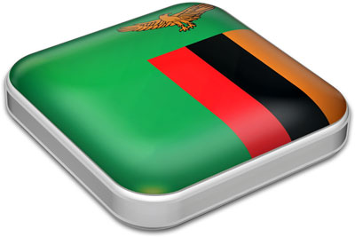 Flag of Zambia with metallic square frame