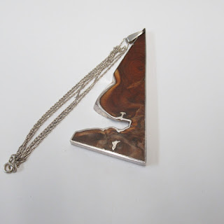 Sterling Silver and Burlwood Pendant Necklace