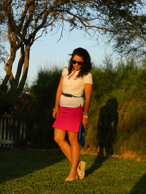 fuchsia skirt and electric blue