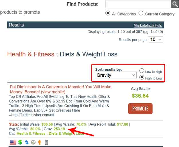 How to find best selling products on Clickbank