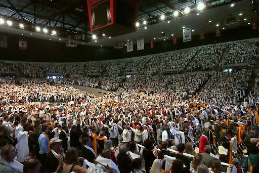 10,000 khatas offered to His Holiness the Dalai Lama, Veterans Memorial Coliseum, Portland, Oregon, U.S., May 11, 2013. Photo by Kurt Smith.