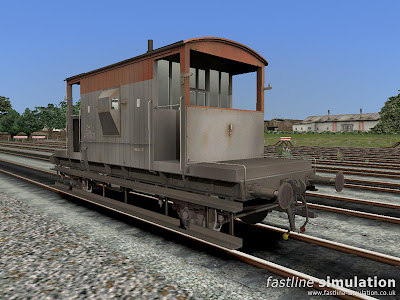 Fastline Simulation: Dia. 1/507 brake van lettered CAR for Railworks in weathered and worn Railfreight red and grey livery.