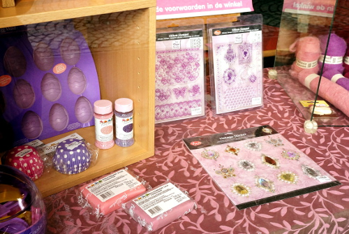 Purple craft shop display