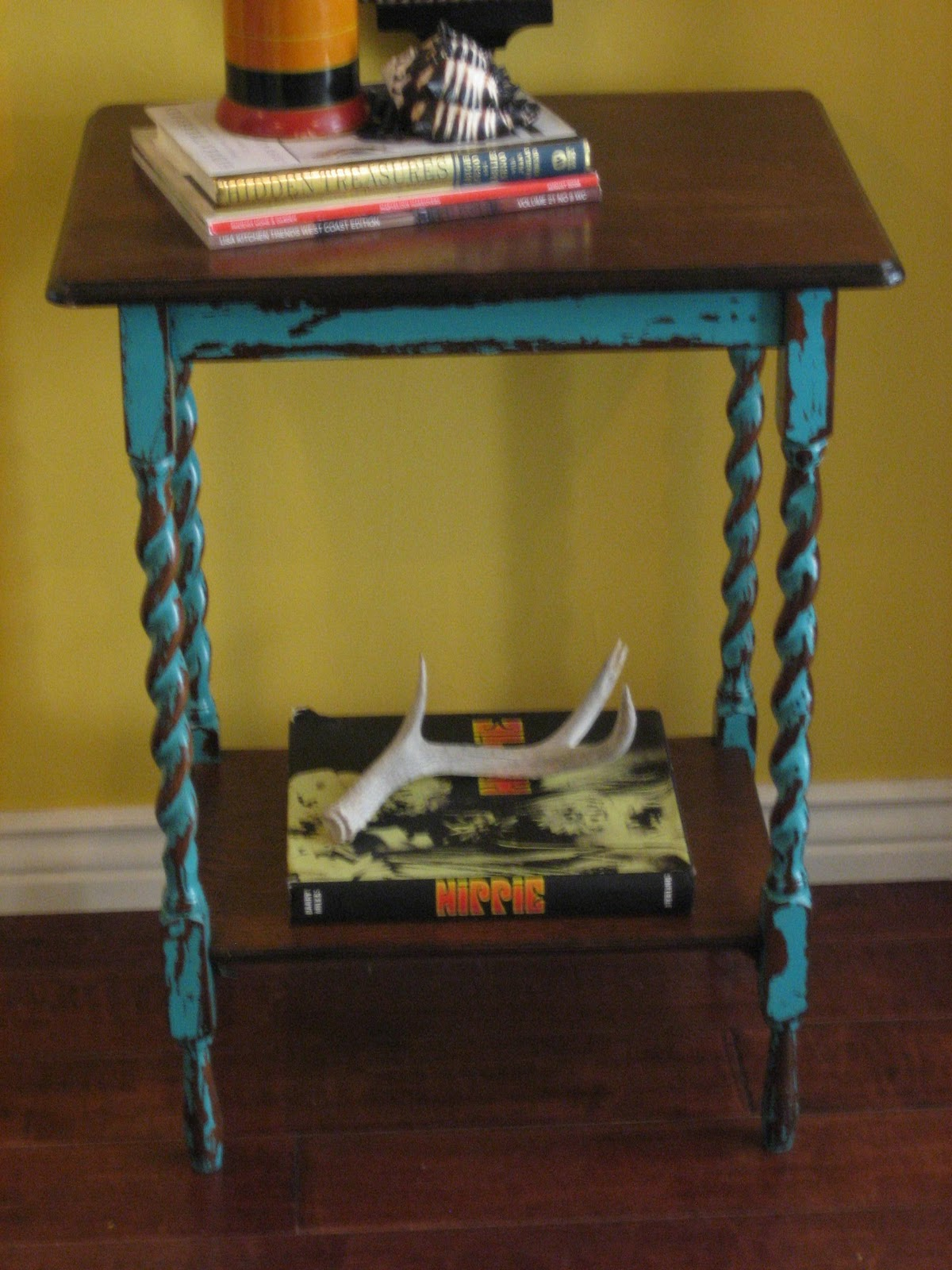 European Paint Finishes Barley Twisted Teal Table